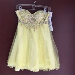 Short Yellow Cocktail Dress Beaded